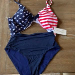 Other - One piece swimsuit. Great American flag colors